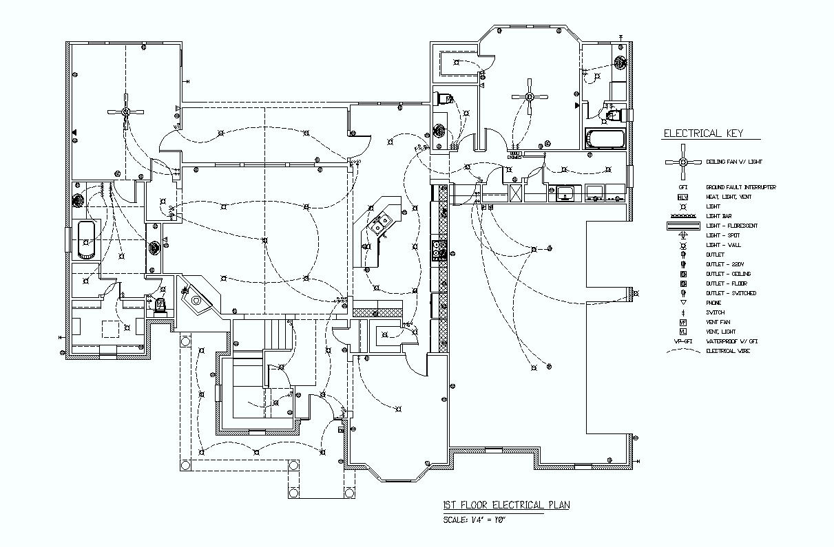 Black And White Electrical Plan With Key Wiring Diagram